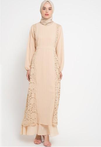 Kamilaa by Itang Yunasz beige Lace Gamis KA273AA84FRRID_1