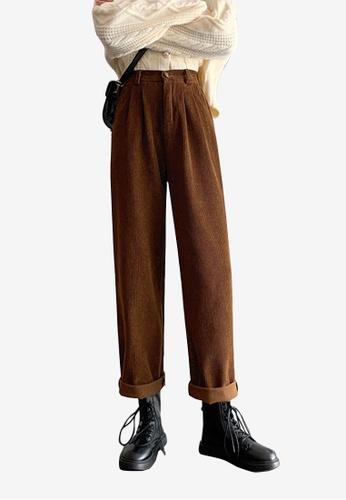 Zafiti brown Women's Korean Style Winter Elastic Waist Loose Corduroy Pant - Brown 9A5D1AA20CF790GS_1