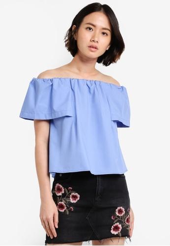 TOPSHOP blue Cotton Poplin Bardot Top TO412AA51VVKMY_1