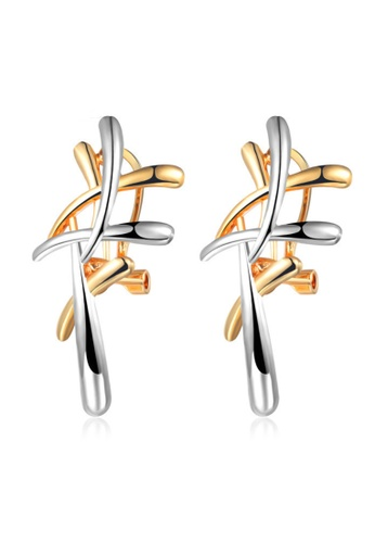 Kings Collection gold Two-Color Cross Stud Earrings 013D1AC9ECEC12GS_1