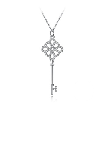 Glamorousky white 925 Sterling Silver Simple Hollow Key Pendant with Austrian Element Crystal and Necklace B8D34AC88788C7GS_1