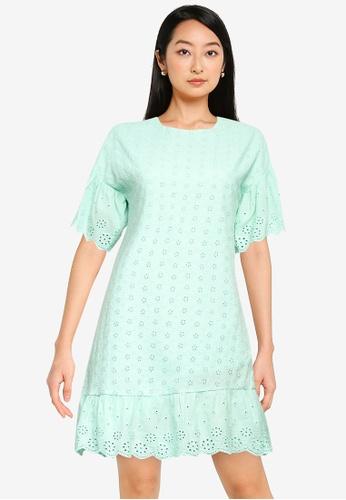 ZALORA BASICS green Frill Sleeve Eyelet Dress 864EFAA935CB7AGS_1