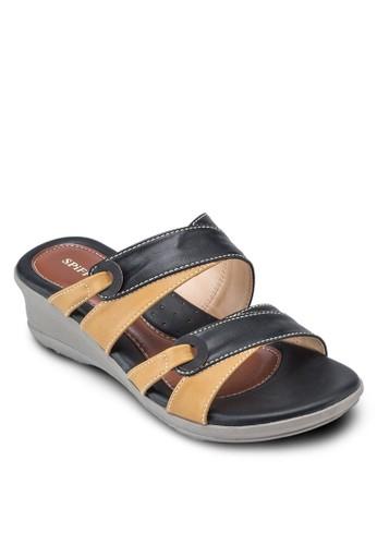 雙色露趾楔形涼鞋, 女鞋, 楔形esprit outlet涼鞋