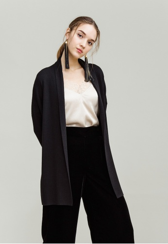 KLAPS black Merino Long Cardigan with Lapel Collar 2E402AA863B576GS_1
