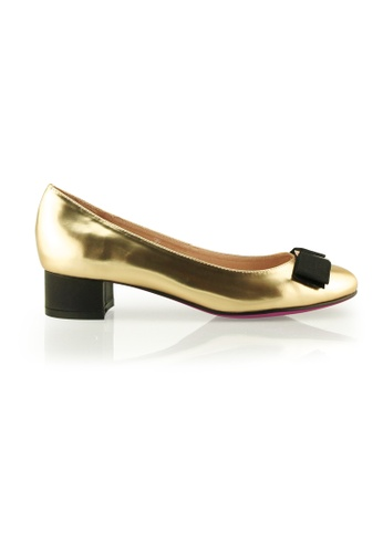 Gripz gold Charm Round Toe Metallic Leather Block Heels GR357SH14OHLSG_1
