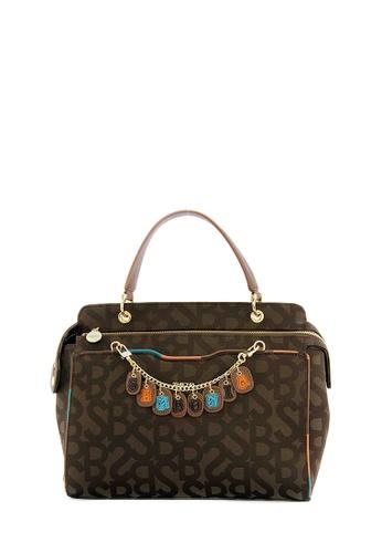 SEMBONIA brown Jacquard Fabric Monogram Satchel Bag (Dark Brown) SE598AC0RVV2MY_1