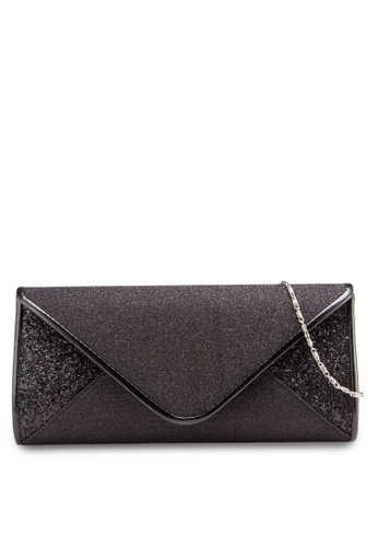 Unisa black V-Shaped Duo-Textured Dinner Clutch UN821AC49BNUMY_1