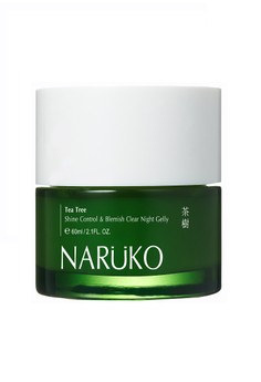 Naruko Tea Tree Shine Control & Blemish Clear Night Gelly 60g with free Tea Tree Purifying Clay Mask & Cleanser In 1- 20g