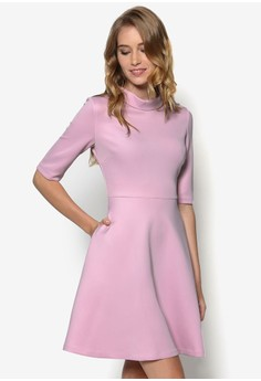 Collection Raised Collar Mid-Sleeve Fit and Flare Dress