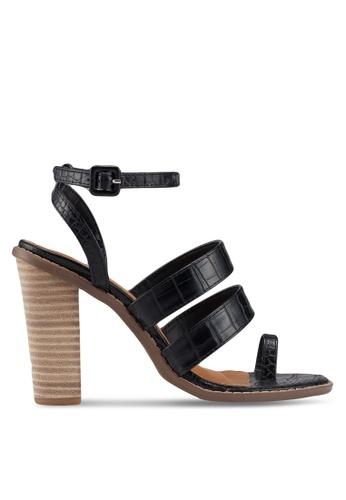 Rubi 黑色 紋理繫帶高跟鞋 AD16FSHCE5798AGS_1