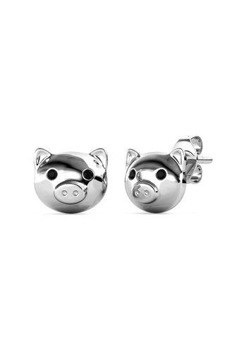 Her Jewellery silver Piggy Earrings (Black Diamond) -  Made with premium grade crystals from Austria B182EAC5F4A743GS_1