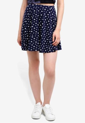 Something Borrowed navy Jersey Skater Skirt 0E980AA8B1C350GS_1