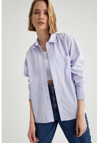 DeFacto purple Long Sleeve Cotton Shirt 13939AA57FD08AGS_1