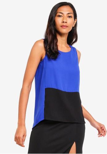ZALORA BASICS black and blue and multi Basic Sleeveless Double Fold Top 219D5AADC9422CGS_1