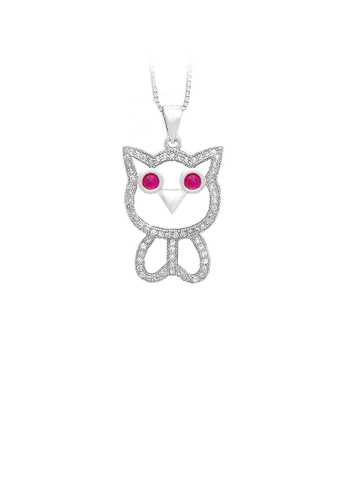 Glamorousky silver 925 Sterling Silver Owl Pendant with White Cubic Zircon and Necklace 3B2D2ACBD05C89GS_1