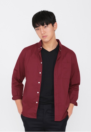 A for Arcade red Alexander Button Down Shirt in Wine 4ADCDAAA4B048EGS_1