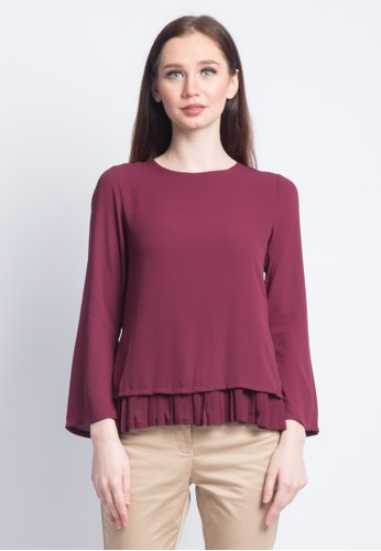 Valino Red VALINO LADIES LONG SLEEVES BLOUSE WITH PLEATS ACCENT 3AF2AAA30716F3GS 1