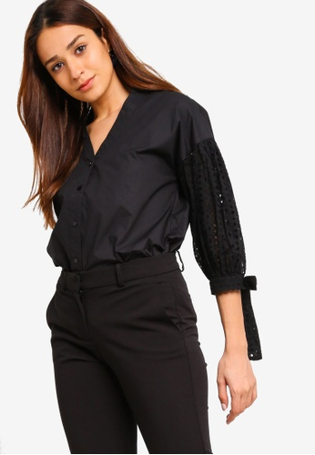 ZALORA black Embroidered Balloon Sleeves Shirt 4A58EAA0A1062AGS_1