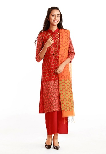 Le Reve red and orange Le Reve Salwar Kameez set with Shawl DBAE5AA9469777GS_1