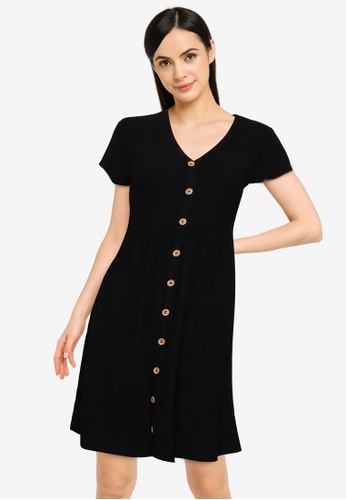 ONLY black Nella Cap Sleeves Buttoned Dress 533DAAA532BE0BGS_1