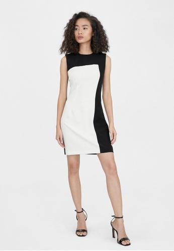 Pomelo black Mini Two Tone Dress - Black AA02DAA6264073GS_1
