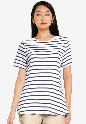 Old Navy white Luxe Striped Crew-Neck Tee 0D2A6AAF91E0D5GS_1
