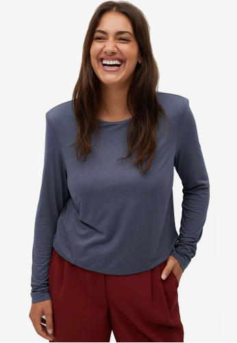 Violeta by MANGO grey Plus Size Knit Shoulder Pad Top 98914AAED912FCGS_1