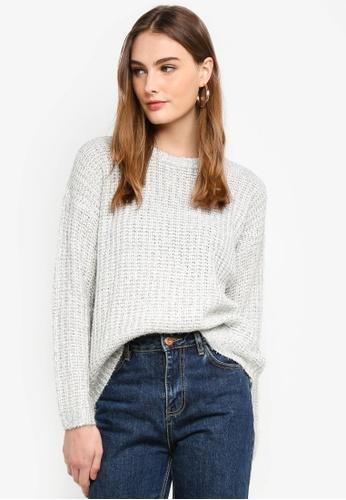 Brave Soul white Knit Jumper With Tinsel Yarn 0DA69AAFA86CFEGS_1