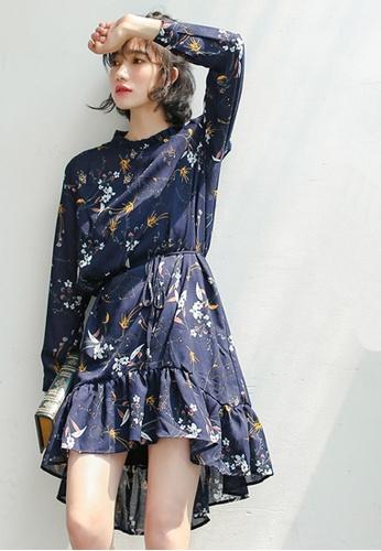 Shopsfashion navy Floral Printed Full Sleeve Dress T59T0847-O SH656AA0FZYYSG_1