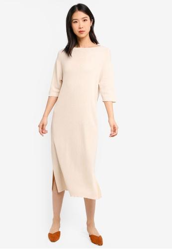 ZALORA BASICS beige Basic Longline Knitted Dress 1C647AAC871EADGS_1