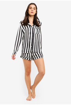 b94fae8e69806 MISSGUIDED Satin Mono Stripe Long Sleeve Pyjama Set RM 179.00. Sizes 6 8 10  12 14