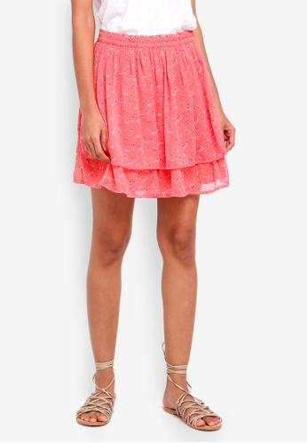 Abercrombie & Fitch red Printed Chiffon Mini Skirt 2B316AABFC215CGS_1