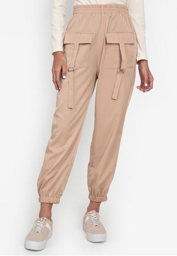 ZALORA BASICS beige Cargo Joggers Pants 95436AA90CF1C2GS_1