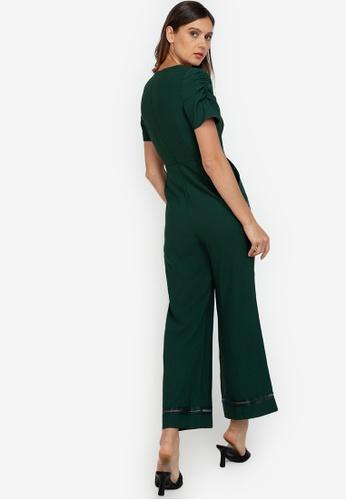 ZALORA WORK green Puff Sleeve Jumpsuit D19A6AA9285512GS_1