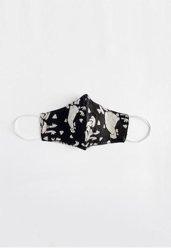 Sekouwit black Chicken Batik Cap Face Mask in Black (Masker Batik Cap Motif Ayam) 60D8BES0315FB2GS_1