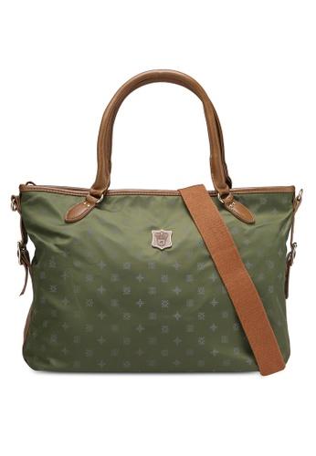 NUVEAU green PU-Trimmed Printed Nylon Convertible Shoulder Bag NU245AC0RKVLMY_1