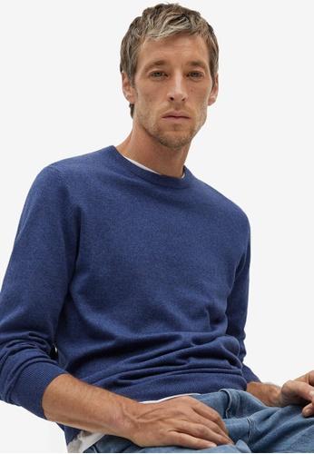 Mango Man blue Cotton Cashmere-Blend Sweater 6B8CBAAAB3FFFDGS_1
