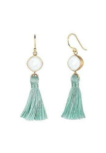 Elli Germany gold Perhiasan Wanita Perak Asli - Silver Anting Tassel Geo Swarovski® Crystal Emas Emas 90A36AC8E083A5GS_1