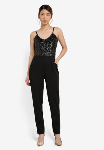 Dorothy Perkins black Black Jessy Sequin Jumpsuit DO816AA0SFA6MY_1