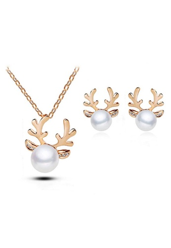 Glamorbit gold Pearl Earrings and Necklace Set 8AAF3AC647AC14GS_1