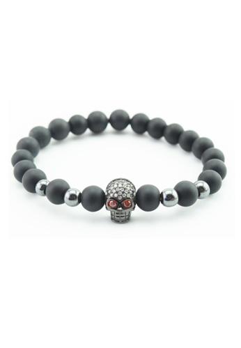 Memento Collection black Signature Black Stone Bracelet with Skull ME060AC58HEJMY_1