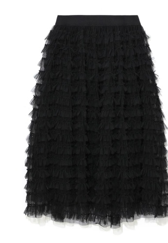 b+ab black Lace ruffle skirt A94B5AAE8BEFD7GS_1