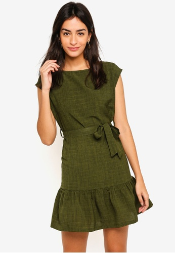 ZALORA green Cap Sleeves Dress CDE31AA9C7D320GS_1