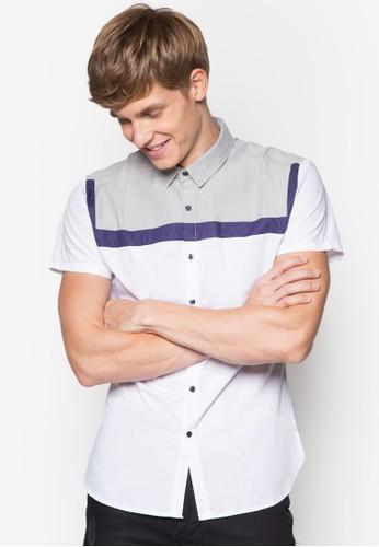撞色拼esprit 品牌接短袖襯衫, 服飾, 印花襯衫