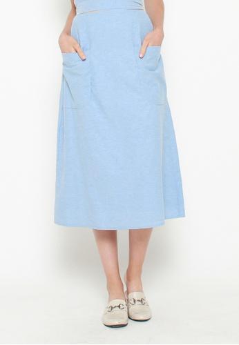 QLOTHE blue Zera A-line Skirt DD4F7AA077EC42GS_1