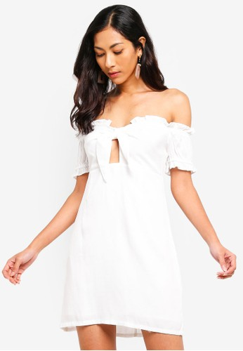 Glamorous white Off Shoulder Ruffle Mini Dress DC6F5AAE0B0CC2GS_1