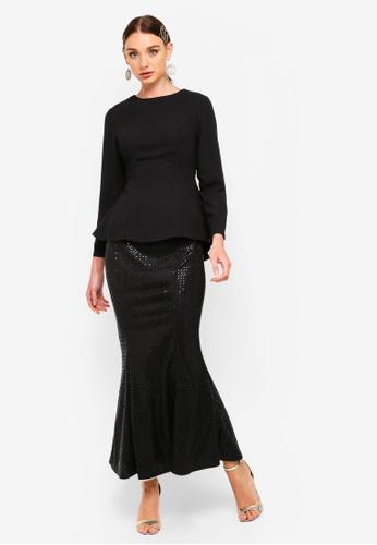Sequin Skirt Peplum Set from Zalia in Black