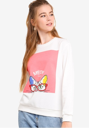 Something Borrowed white Graphic Sweater Top 2E37FAAB050062GS_1