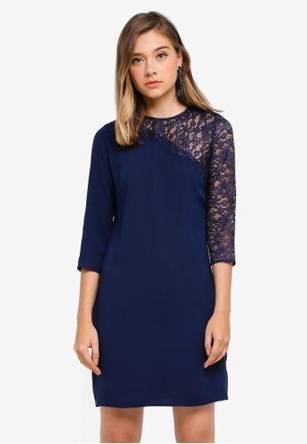Dorothy Perkins 海軍藍色 Asymmetric Lace Sleeve Shift D6A1FAAC541279GS_1