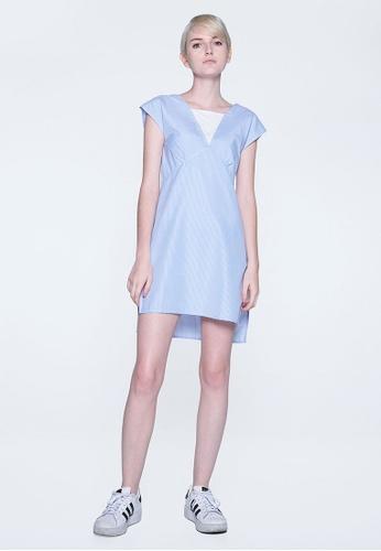 SALIENT LABEL blue Elysian Contrast Panel Stripe Dress With Hi-lo hemline 19050AA285A41EGS_1